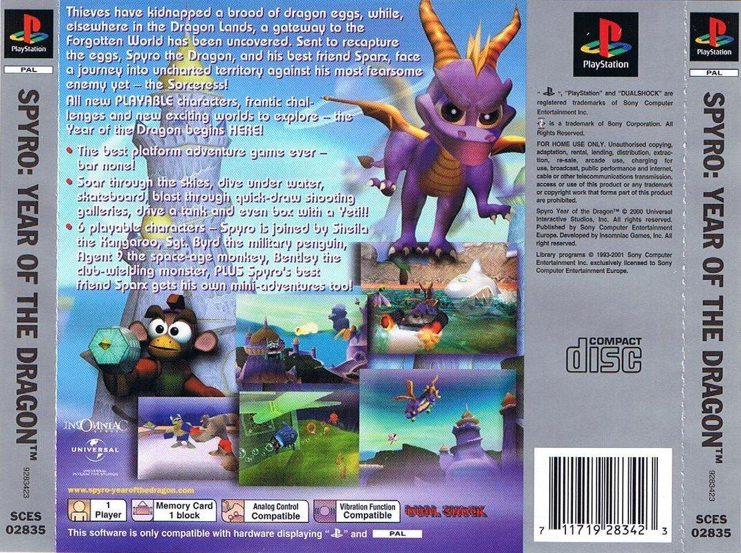 Задняя обложка европейской версии Spyro 3: Year of the Dragon Platinum